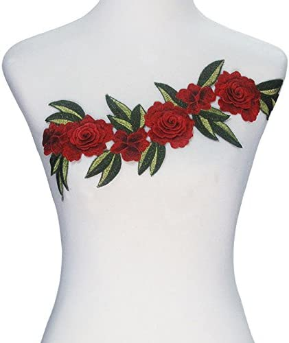 1piece 3D Red Rose Embroidery Applique Patches Lace Venice Cord Motif Fabric Patches Garment Decoration Sewing Accessorr T2365
