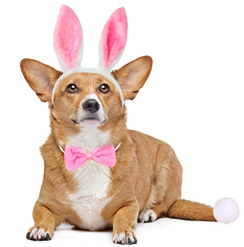 Dog Bunny Costume Set,Pet Rabbit Ears Headband Tail and Cat Bowtie Collar