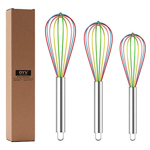 OYV Whisk, Whisks for Cooking Silicone Mini Whisk 3 Pack Sturdy Colored Balloon Egg Beater for Blending Whisking Beating…