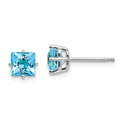 14k White Gold 5mm Princess Cut Blue Topaz Post Stud Earrings Gemstone Fine Jewelry Gifts For Women For -