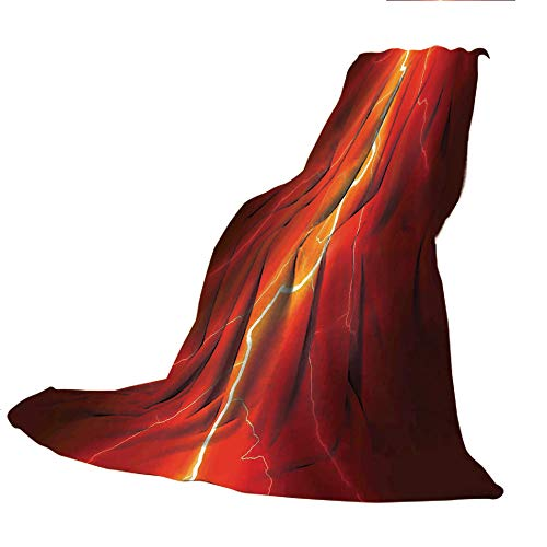 SCOCICI Comfortable Extra-Thick Blanket, Double-Sided Printing,Nature,Lightning Bolt Forked Against Dark Sky Thunderstorm Intense Electrical Rays Theme,Yellow Red,31.50