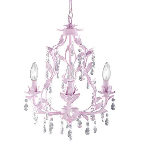 - Isabella Crystal Chandelier in Pink, 4-Light