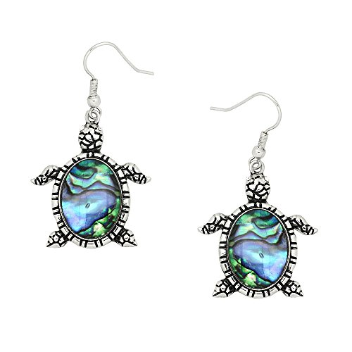Liavy's Sea Turtle Fashionable Earrings - Fish Hook - Abalone Paua Shell - Sparkling Crystal - Unique Gift and ()