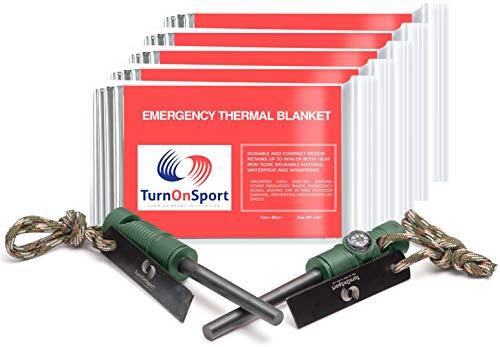 Magnesium Fire Starter Survival Kit - Emergency Space Blanket Foil 5 Pack - Flint Steel Fire Starter & Compass - Mylar Thermal Blanket Camping - Ferro Rods Fire Striker Hiking Whistle Paracord Lanyard
