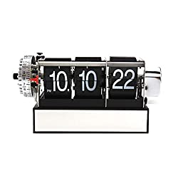 MagiDeal Retro Digital Auto Flip Down Clock Gear Desk Stand Page Quartz Clock -Black