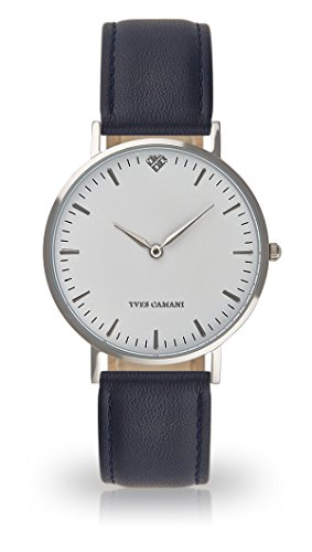 YVES CAMANI Amelie Women's Wrist Watch Quartz Analog Dark Blue Leather Strap White Dial YC1097-A-729