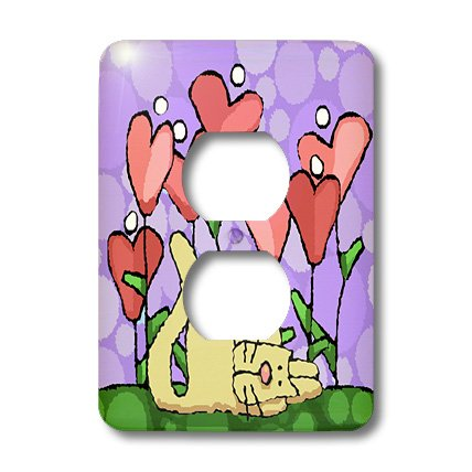 (3dRose lsp_37499_6 Valentine Folk Art, Whimsical Heart Flower Garden with Cat, Purple Background 2 Plug Outlet Cover)