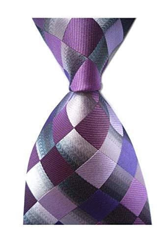 (Secdtie Men's Classic Checks Purple Grey Jacquard Woven Silk Tie)