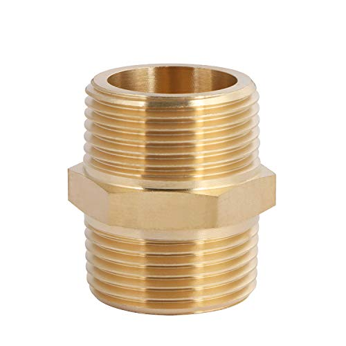 U.S. Solid Brass Pipe Fitting, Hex Nipple, 1 x 1 NPT Male Pipe Adapter