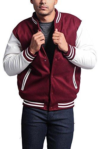 G-Style USA Letterman Varsity Jacket VJ100A - BURGUNDY/WHITE - Small - KK1E