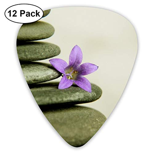 Stone Pyramid Meditation Blossom Stack Ultra Light 0.46 Medium 0.73 Heavy 0.96mm Printed Round Flat Soft Plastic Jazz Electric Acoustic Bass Guitar Pick Accessories Variety Pack