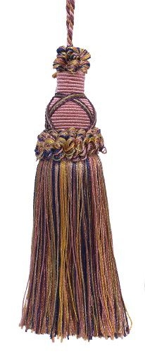 - Decorative 5.5 Inch Key Tassel, Dusty Rose, Dark Blue, and Light Olive Imperial II Collection Style# KTIC Color: OLIVE ROSE - 1010