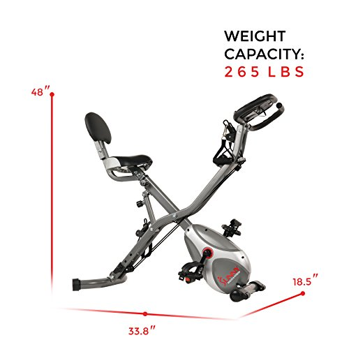 Sunny Health & Fitness Foldable Semi Recumbent Magnetic Upright Exercise Bike w/Pulse Rate Monitoring, Adjustable Arm Resistance Bands and LCD Monitor - SF-B2710 by Sunny Health & Fitness (Image #17)