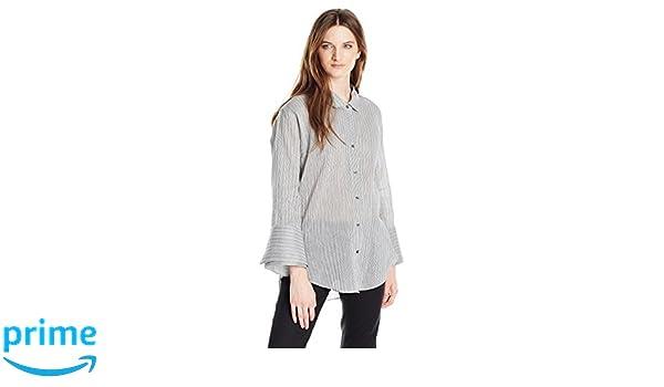 007fe00805493d Amazon.com  Halston Heritage Women s Long Sleeve Wide Cuff Stripe Shirt   Clothing