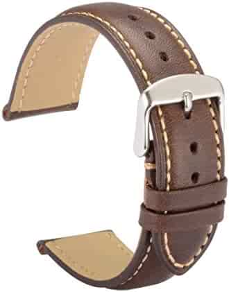 WOCCI Watch Bands 18mm Brown Leather Strap Vintage Series Replacement (Dark Brown with Contrasting Seam)