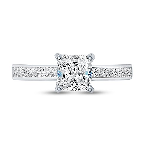 (Size - 5.5 - Solid 925 Sterling Silver Princess Cut Invisible Band Solitaire Engagement Ring CZ Cubic Zirconia (1.50cttw., 1.0ct. Center))
