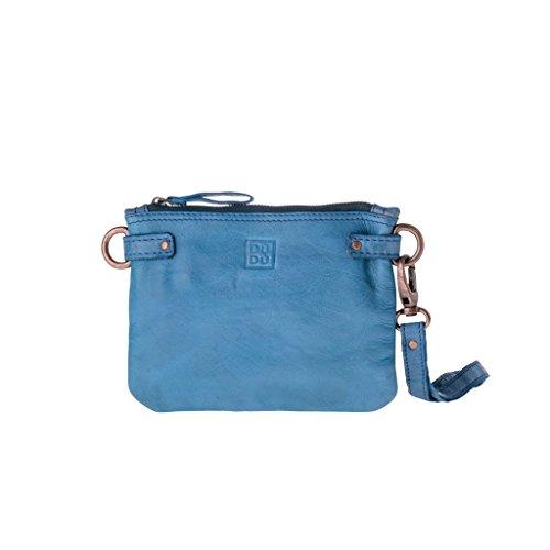 Pochette in pelle lavata con laccetto da polso e tracolla DUDU Agata Blue