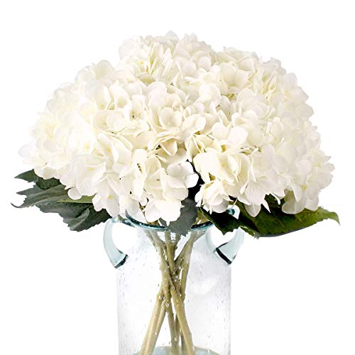 Blooming Paradise Pack of 3 Artificial Fake Flowers Plants Silk Hydrangea Arrangements Wedding Bouquets Decorations Plastic Floral Table Centerpieces Home Kitchen Garden Party Festival Bar(White)