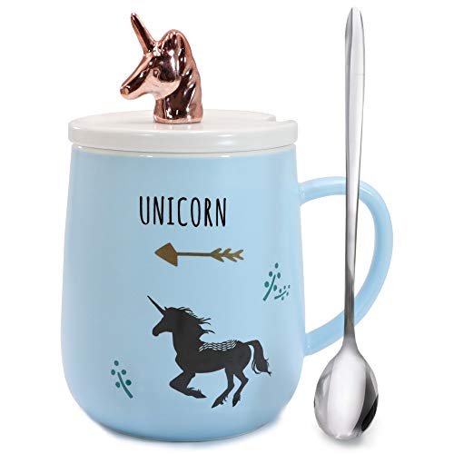 (Sunddo Cute Unicorn Mug Animal Morning Mug Office Porcelain Tea Coffee Milk Ceramic Cup with Lid and Spoon - Christmas Present Gift Best Birthday Gift for Women Girls Lady Rose Gold Blue 14 OZ)
