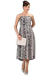 Sweet Mommy Women's Foil Print Maternity & Nursing Maxi Dress