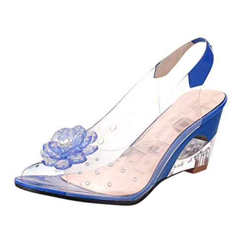 - JJLIKER Women Floarl Rhinestone Clear Flatform Wedge Open Toe Sandals Ankle Strap Slingback Slip-On Heels Shoes Blue