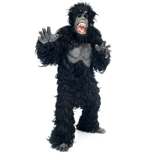 [Paper Magic Gorilla Bodysuit with Latex Chest, Black, One Size] (Latex Body Paint Costumes)
