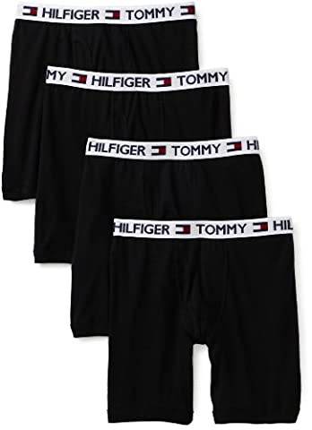 Tommy Hilfiger Men's 4 Pack Boxer Brief, Black, X-Large - 4 Pack Boxer Brief