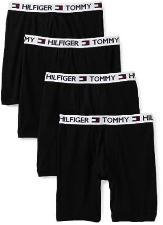 Tommy Hilfiger Men's 4 Pack Boxer Brief, Black, Small
