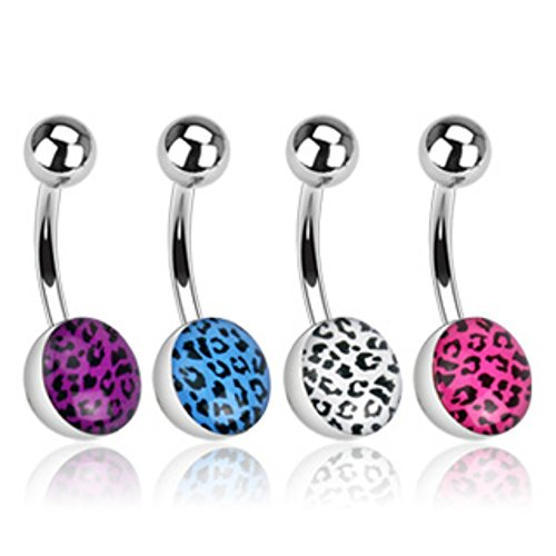 Ball Leopard Skins (Leopard Skin Clear Epoxy Coated Ball 316L Surgical Steel Freedom Fashion Navel Ring (Sold by Piece))