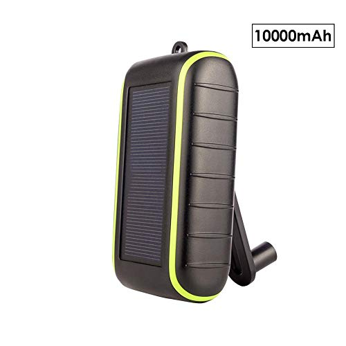 Samber Solar Mobile Power Supply Outdoor Portable Solar Charger Power Bank Hand Crank Power Mobile Power Cellphone Charger Large Capacity External Battery/Black 10000mAh
