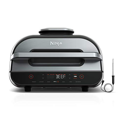 Ninja FG551 Indoor Grill Foodi Smart XL 6-in-1 with 4-Quart Air Fryer Roast Bake Dehydrate Broil and Leave-in…