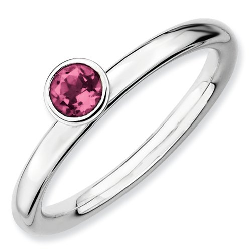Sterling Silver Stackable Expressions Bezel Set 4mm Round Cut Pink Tourmaline Ring - Size 8 Cut Pink Tourmaline Ring