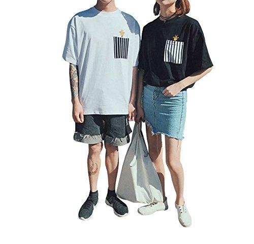 気づく修羅場相反する[RSWHYY] レディース メンズ 半袖 Tシャツ 夏 ペアルック 恋人 原宿風 ゆったり キリン プリント ファッション 旅行 リラクス