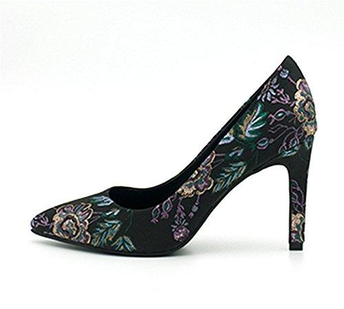 NVXIE Printemps/Été Tendance Femmes Chaussures simples Shallow Tips Stiletto Heel Personnalité Brodé Talons Hauts 35-39 black 7jUOo3