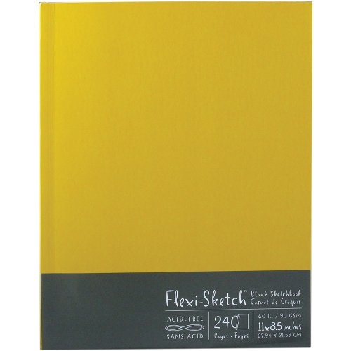 Global Art 11-Inch by 8-1/2-Inch Flexi Sketch Soft Cover Blank Sketchbook, Butternut, 120 Sheets