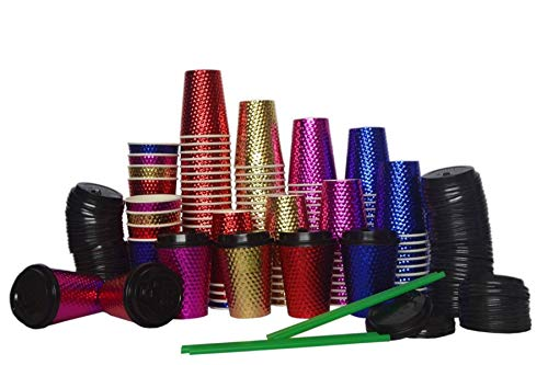 To Go 12 Oz Disposable Hot Paper Coffee Cups with Lids, Hot and Cold Insulated Party Drink Cups, Hot Chocolate Cups (48 Lids+48 Cups= 96 Pack)