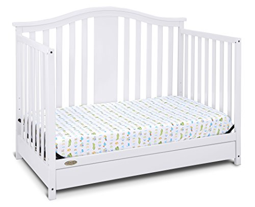 41eKyvQNaIL - Graco Solano 4-in-1 Convertible Crib With Drawer, White, Easily Converts To Toddler Bed Day Bed Or Full Bed, Three Position Adjustable Height Mattress, Some Assembly Required (Mattress Not Included)