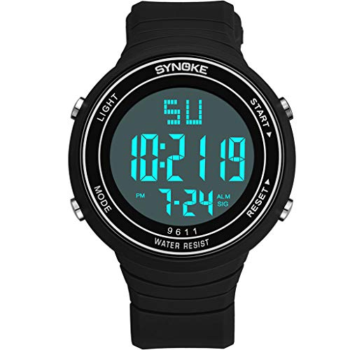 LUCAMORE Men's Digital Sports Wrist Watch, Led 50M Waterproof Wrist Watch, Military Multi-Function Watches for Men