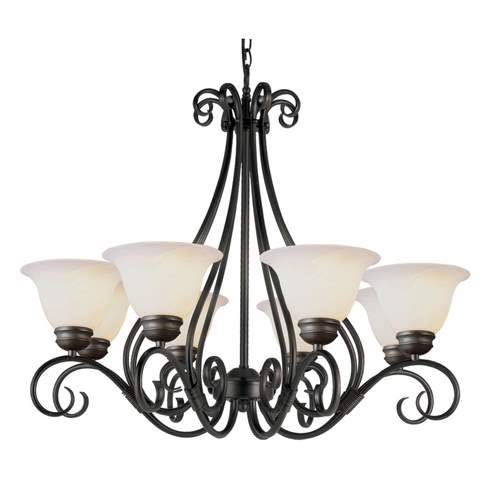 (Trans Globe French Country Pewter 8-Light Chandelier 6398-1PW)