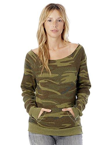 Alternative Women's Maniac Printed Eco-Fleece Sweatshirt, Camo, Small (Camouflage Fleece Pullover)