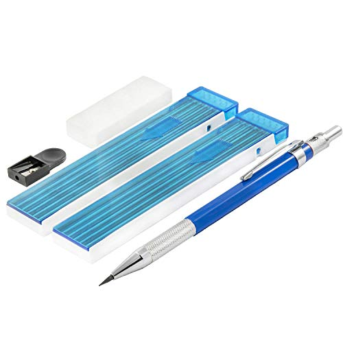 2mm Lead Holder Set - Professional Mechanical Drafting Pencil - 12xHB & 12x4B Lead Refills - 2mm Lead Pointer and Soft Eraser - Perfect for Sketching and Drawing ()
