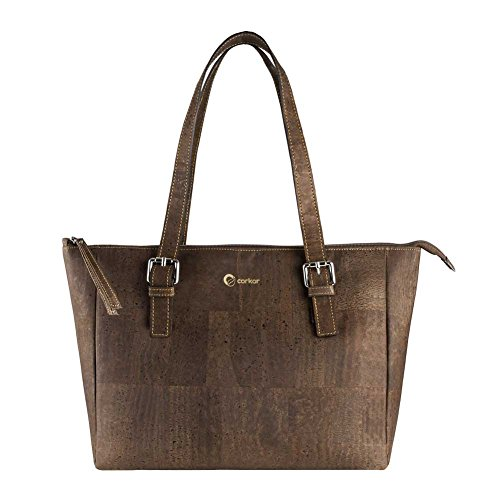 Corkor Vegan Handbag Satchel Women's - Top Double Handle - Peta Approved - Natural Dark Brown Cork - Double Handle Handbag