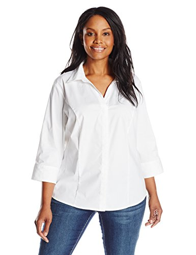 Riders by Lee Indigo Women's Plus-Size Bella Easy Care 3/4 Sleeve Woven Shirt, Arctic White, 2X