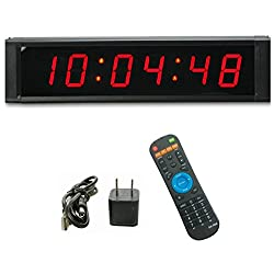 GANXIN Multifunctional 1'' High 6 Digits LED Wall Clock, with Countdown/up Digital Timer, 12/24-Hour Real Time Clock, Stopwatch by Remote Control