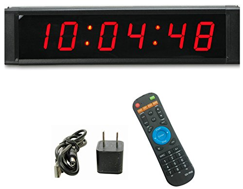 GAN XIN Multifunctional 1'' High 6 Digits LED Wall Clock, with Countdown/up Digital Timer, 12/24-Hour Real Time Clock, Stopwatch by Remote Control