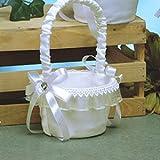 White Flower Girl Basket with Rhinestone Bow