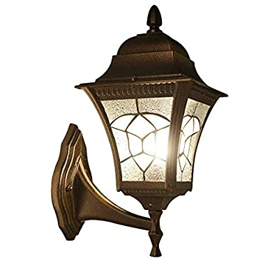 ZLHW Wall lamp European Waterproof Outdoor Wall Light Sconce Profession Antirust Aluminum Wall Lamp Retro Courtyard Balcony Staircase Doorway Entrance Decoration Rainproof Glass