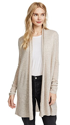 White Warren Cashmere Cardigan - White + Warren Women's Essential Trapeze Robe, Sand Wisp Heather, X-Large
