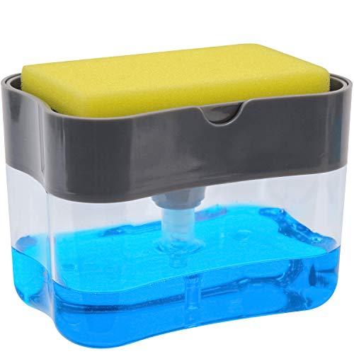 S&T 531001 Soap Dispenser and Sponge Caddy, 13 oz, Grey