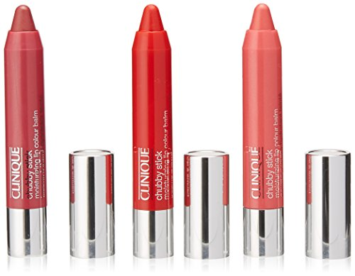 Price comparison product image Clinique Have a Little Colour Chubby Stick Moisturizing Lip Colour Balm Full Size Trio Set: Super Strawberry 07 + Two Ton Tomato 11 + Mighty Mimosa 13